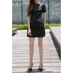 Black PU Spliced Knee Length Dress deal