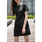 Black PU Spliced Knee Length Dress