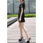 Black PU Spliced Knee Length Dress for sale