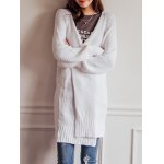 cheap Casual Pure Color Crochet Long Sleeve Cardigan