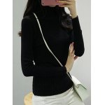 cheap High Neck Pure Color Long Sleeve Sweater