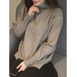cheap Split High Neck Candy Color Long Sleeve Sweater