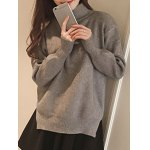 Split High Neck Candy Color Long Sleeve Sweater