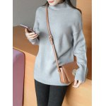 cheap Sweet High Neck Candy Color Sweater