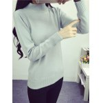 cheap High Neck Long Sleeve Candy Color Sweater