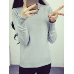 cheap High Neck Sweet Solid Color Sweater