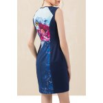cheap Floral Sleeveless Mini Sheath Dress