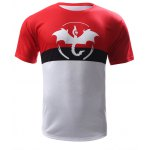 cheap Abstract Print Color Block Round Neck Short Sleeves T-Shirt For Men