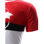 best Abstract Print Color Block Round Neck Short Sleeves T-Shirt For Men