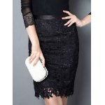 Trendy Solid Color Lace Bodycon Skirt