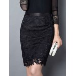 cheap Trendy Solid Color Lace Bodycon Skirt