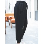 cheap Plus Size Active Drawstring Embroidery Pants