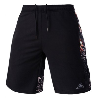 Mesh Design Ethnic Print Lace-Up Straight Leg Sports Shorts For Men