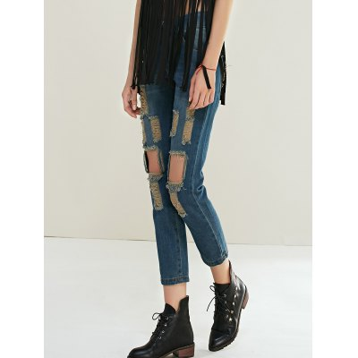 Chic Ripped Hollow Out Denim Pants For Women