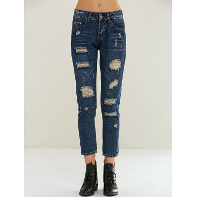Women's Stylish Ripped Painting Jeans