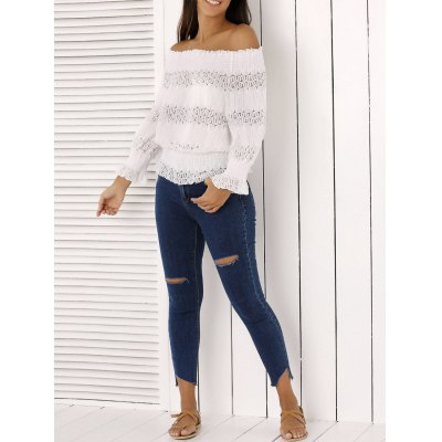 Off The Shoulder Peplum Top and Distressed Skinny Jeans