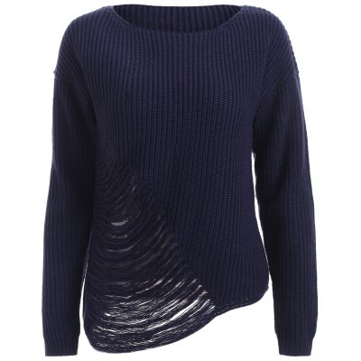 Casual Ripped Asymmetric knitted Top For Women
