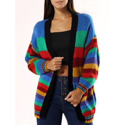 Striped Loose Cardigan For Women