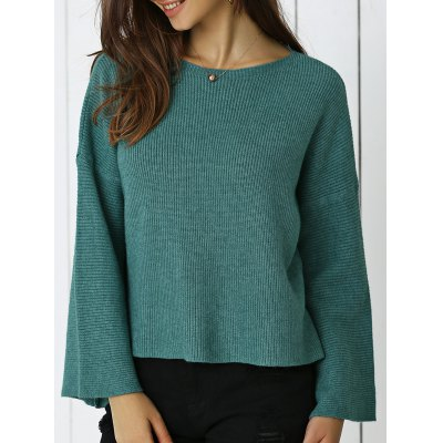 Flare Sleeve Ribbed Sweater For Women