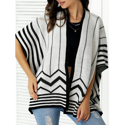 Collarless Batwing Sleeve Cardigan For Women