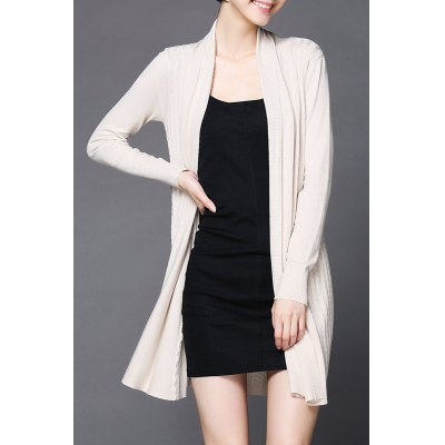 Collarless Long Sleeve Cardigan