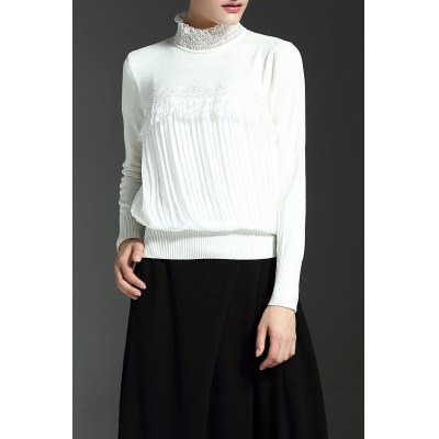 Lace Spliced Ruched Knitwear