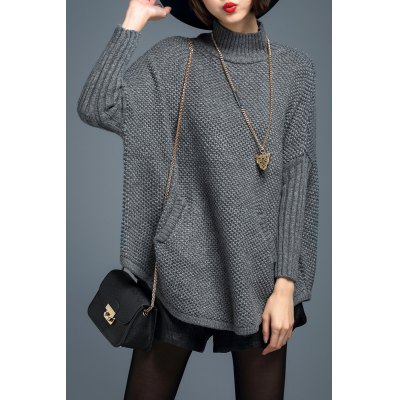 Batwing Sleeve Turtleneck Pullover Sweater