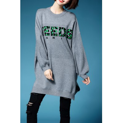 Batwing Sleeve Letter Jacquard Pullover Sweater