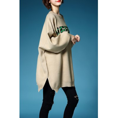Letter Jacquard Batwing Sleeve Pullover Sweater