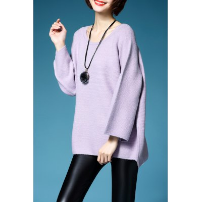 Flare Sleeve Scoop Neck Pullover Sweater