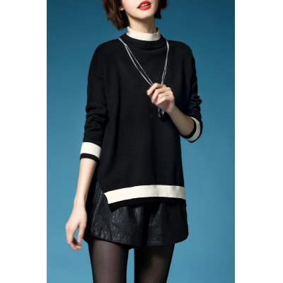 Batwing Sleeve Color Block Pullover Sweater