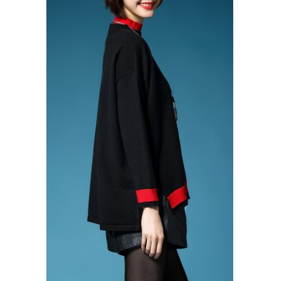 Color Block Batwing Sleeve Pullover Sweater