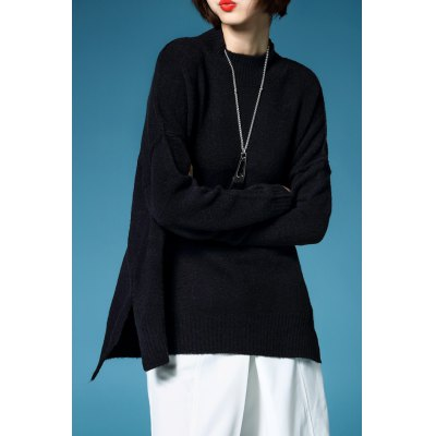 Batwing Sleeve Slit Pullover Sweater