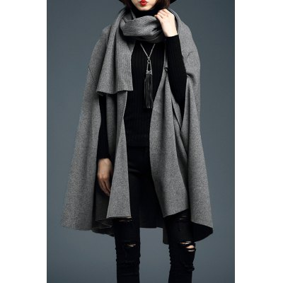 Open Cape Knitted Cardigan with Shawl Collar