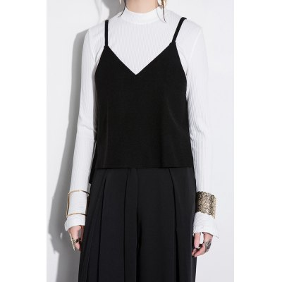 Ribbed Bell Sleeve Top with Cami