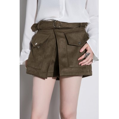 Belted High Waisted Suede Shorts