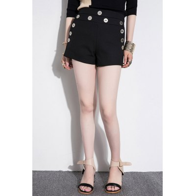 Buttoned Straight High Waisted Shorts