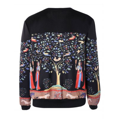 Casual 3D Print Spliced Pullover Sweatshirt For Women