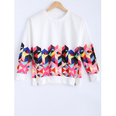 Long Sleeve Colorful Geometrical Sweatshirt