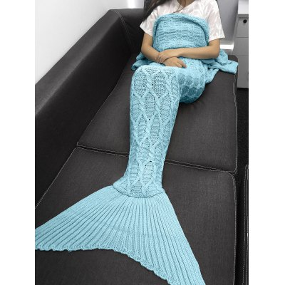 Solid Color Crochet Knitting Geometric Pattern Mermaid Tail Design Blanket