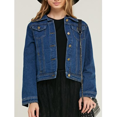 Fashionable Pocket Design Denim Jacket For Women