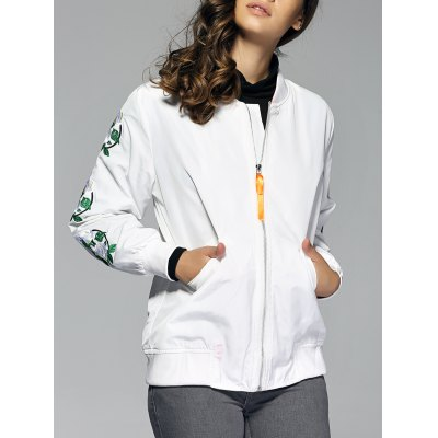Stand Collar Embroidered Bomber  Jacket