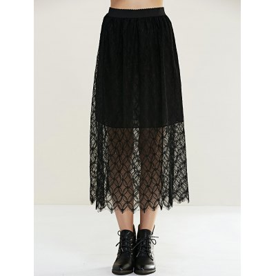 Pure Color Laciness Skirt For Women