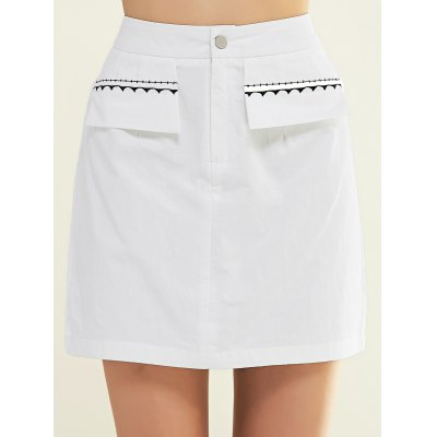 Simple Women's Embroidered White Mini Skirt