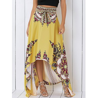 Tribal Print High Low Skirt For Women