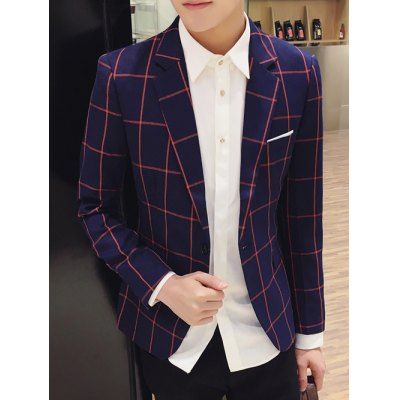Checked Breast Pocket Lapel Long Sleeve One-Button Blazer