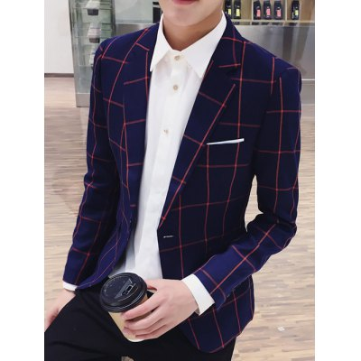 Checked Breast Pocket Lapel Long Sleeve One-Button Blazer For Men