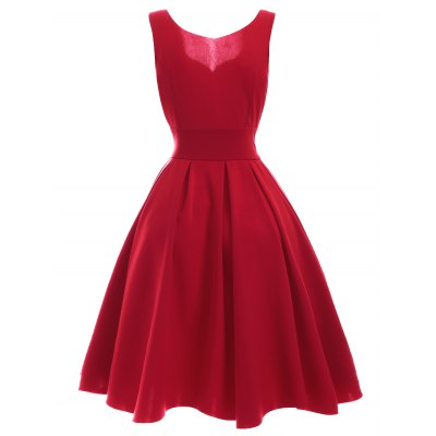Vintage Sweetheart Neck Red Pleated DressMini Dresses<br>Vintage Sweetheart Neck Red Pleated Dress<br><br>Dresses Length: Mid-Calf<br>Material: Polyester<br>Neckline: Sweetheart Neck<br>Package Contents: 1 x Dress<br>Pattern Type: Solid<br>Season: Summer<br>Silhouette: Pleated<br>Sleeve Length: Sleeveless<br>Style: Vintage<br>Weight: 0.3000kg<br>With Belt: No