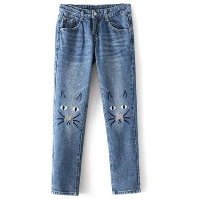 Cartoon Cat Embroidered Jeans