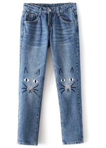 Cute Pockets Cartoon Cat Embroidered Jeans For Women